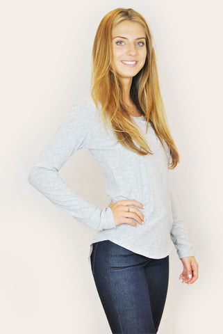 Velvet adieu heather grey club long sleeve top