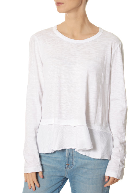 White Mock Layered Crew Neck Long Sleeve Top