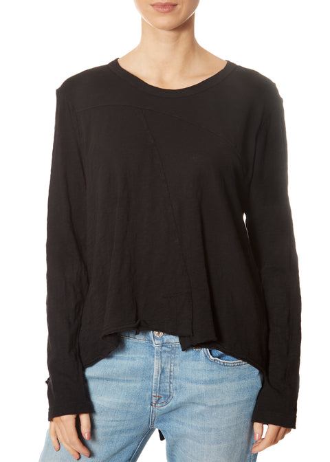Black Twisted Seam Crew Neck Long Sleeve Top
