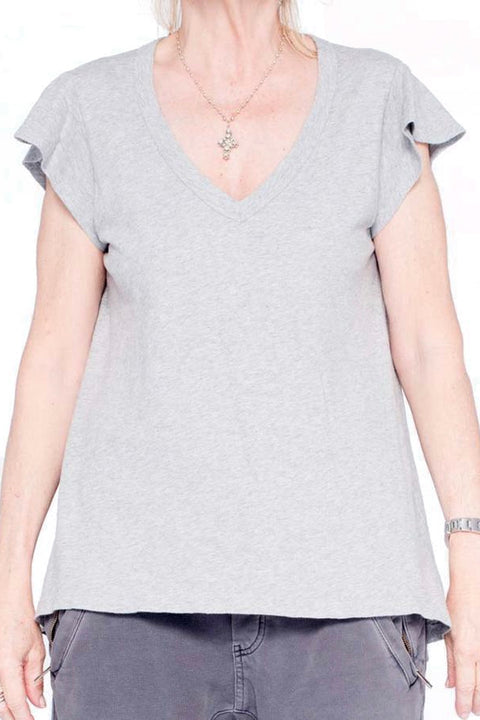 Sexy Heather Grey V Neck T Shirt | Jessimara London