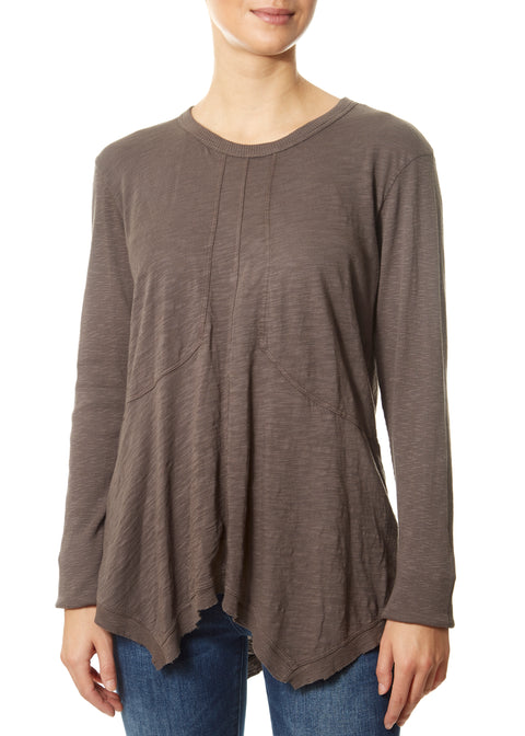 Petrol Grey Round Neck Top