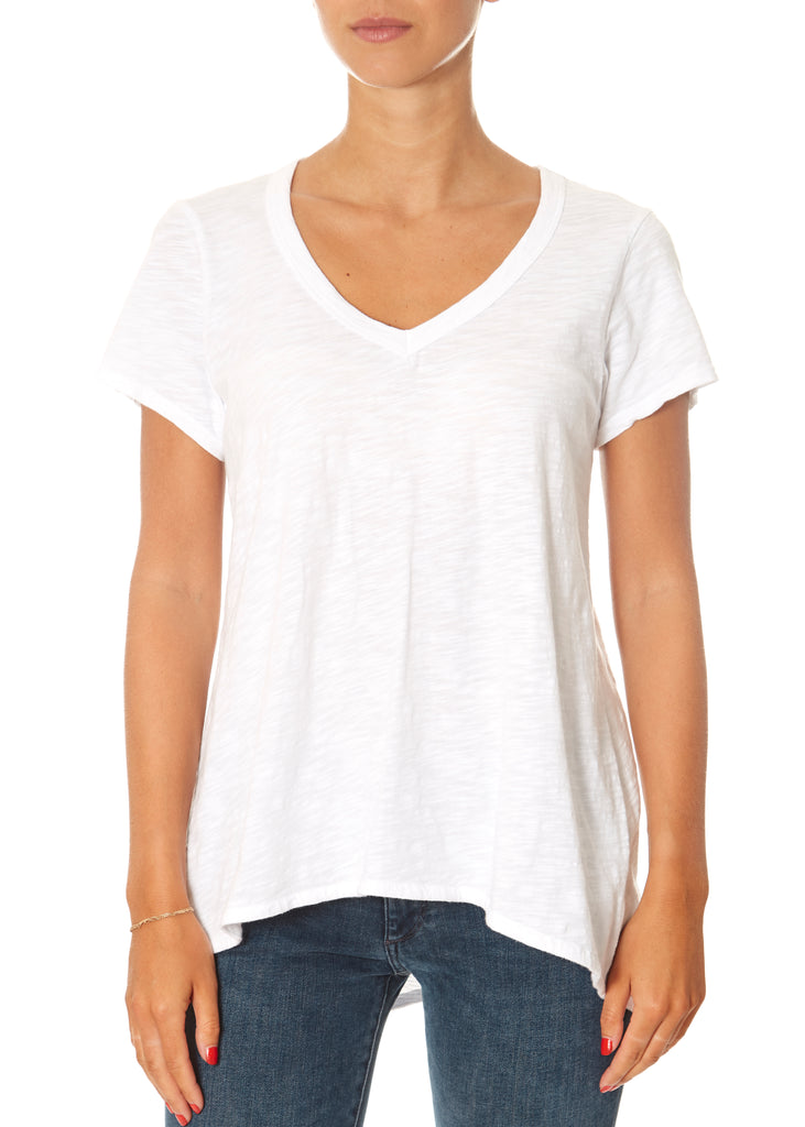 White Deep V-Neck Boyfriend Tee | Jessimara London