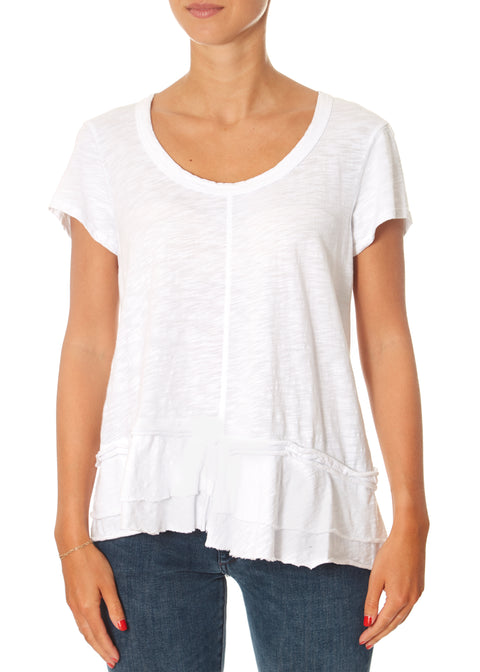White Crew Neck Shifted Mock Hem Top