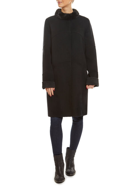 Black Wool & Cashmere Coat with Black Mink Collar