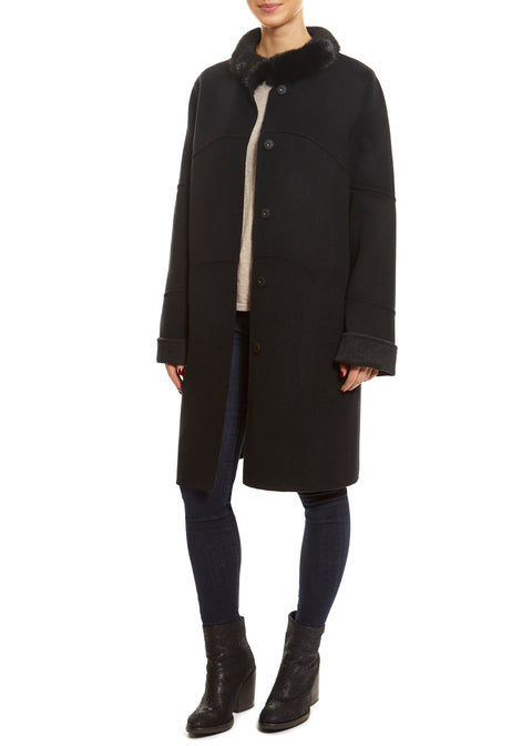 Black Wool & Cashmere Coat With Fur Collar in Mink Jessimara - Jessimara