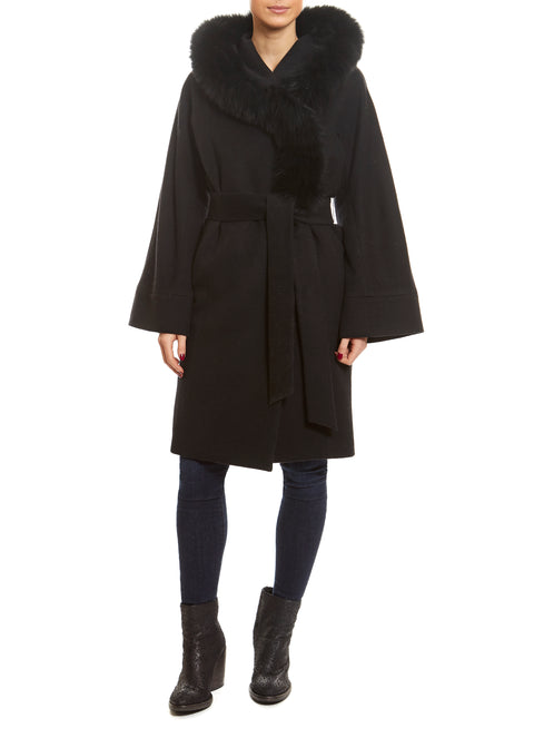 Black wool 3/4 Length Fox Trim Coat