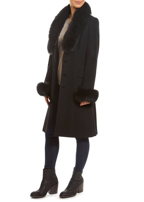 Black Genuine Fox Fur Collar and Cuff Coat | Jessimara London