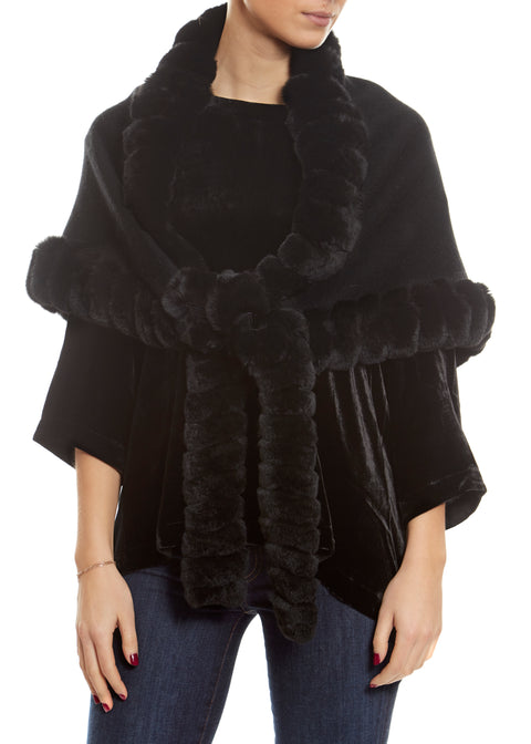 Black Wool Wrap with fur trim