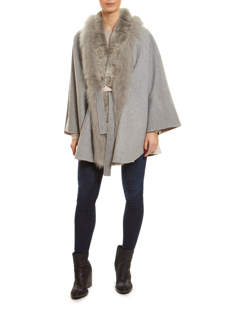 Light Grey/Cream Inside Fur Trim Coat Jessimara - Jessimara