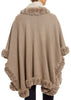 Wool Poncho Mocca with Rex Trimmings Jessimara Fur - Jessimara