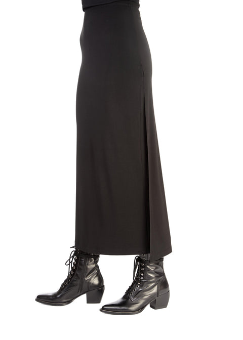 'Zaza' Jersey Black Split Skirt | Jessimara London