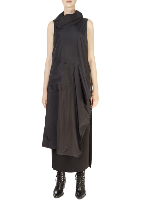 'Zeci' Black Taffeta Tunic Top | Jessimara London