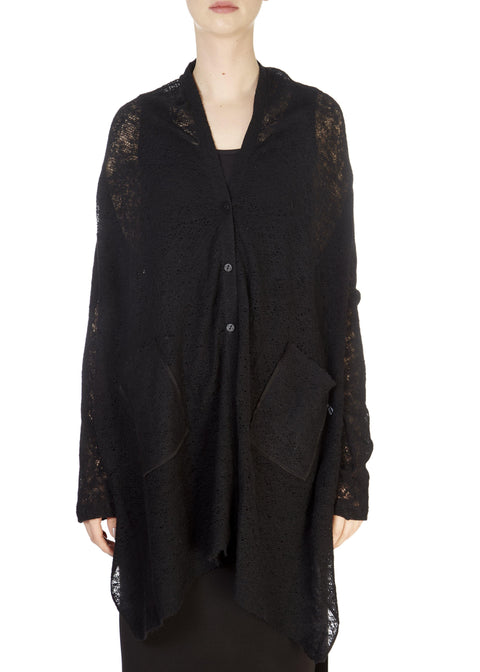 'Zoni' Long Black Merino Cardigan | Jessimara London