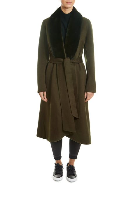Khaki Swing Coat With Mink Trim