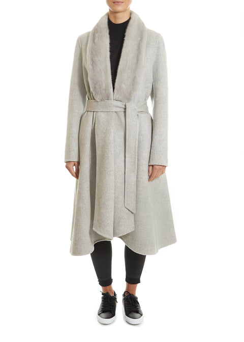 Light Grey Swing Coat With Mink Trim