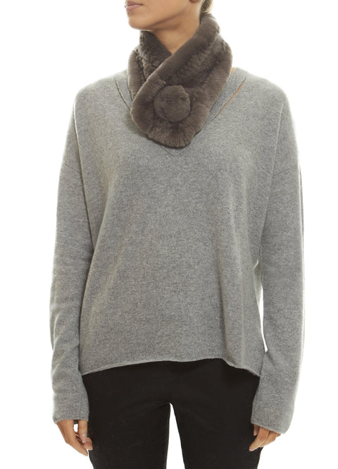 Taupe/Grey Bobble Knitted Rabbit Luxury Fur Scarf - Jessimara