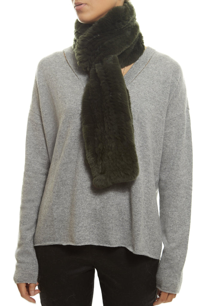 Khaki 'Open' Real Rex Rabbit Fur Scarf | Jessimara London