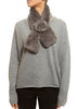 Taupe/Grey Real Rex Rabbit Fur Rose Scarf | Jessimara London