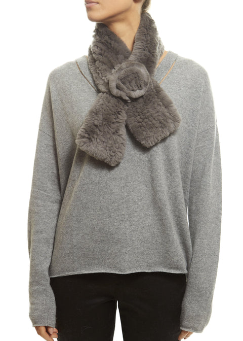 Light Grey Rex Rabbit Rose Scarf