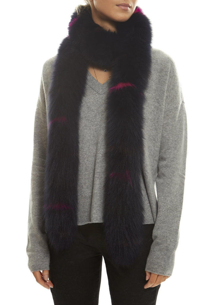 Navy Open Fox Scarf With Pink Detailing Jessimara Fur Accessories - Jessimara