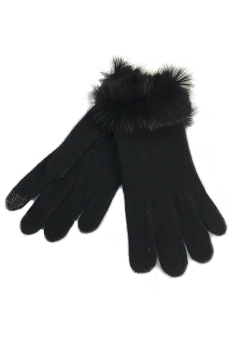 Black Cashmere Blend 'Knitted Gloves' With Fur Trim