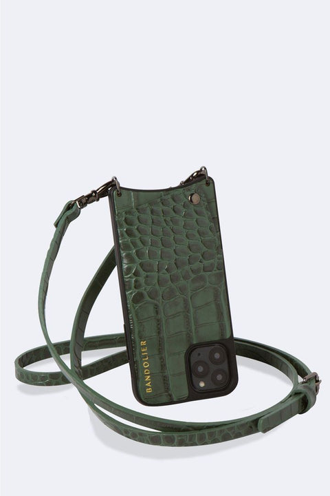 'Emma' Green Croc/Pewter Embossed Leather Crossbody Bandolier | Jessimara London