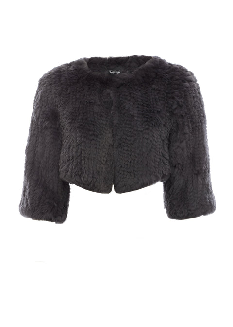 Cropped 'Grey' Knitted Rabbit Genuine Fur Jacket | Jessimara London