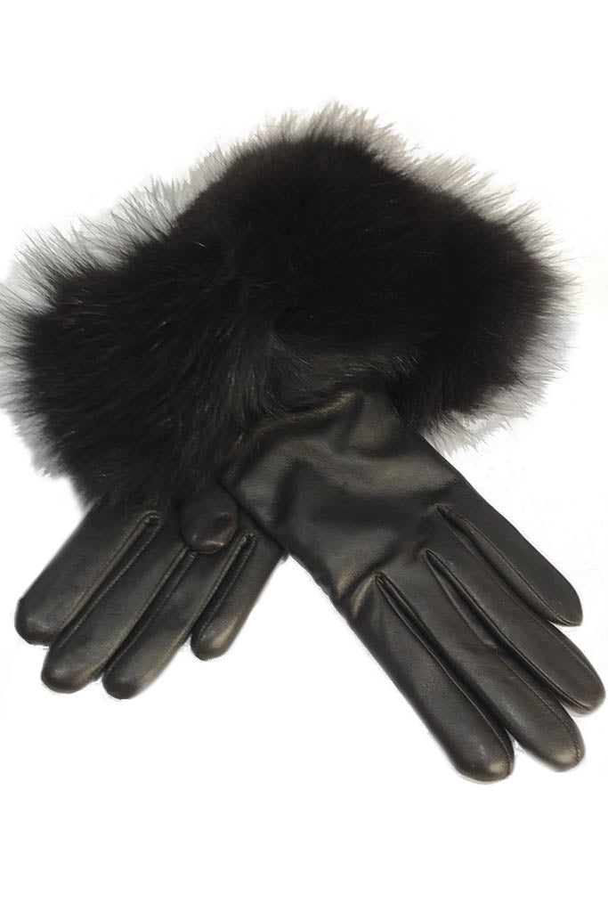 Brown Lambskin Leather 'Gloves With Fur Trim'