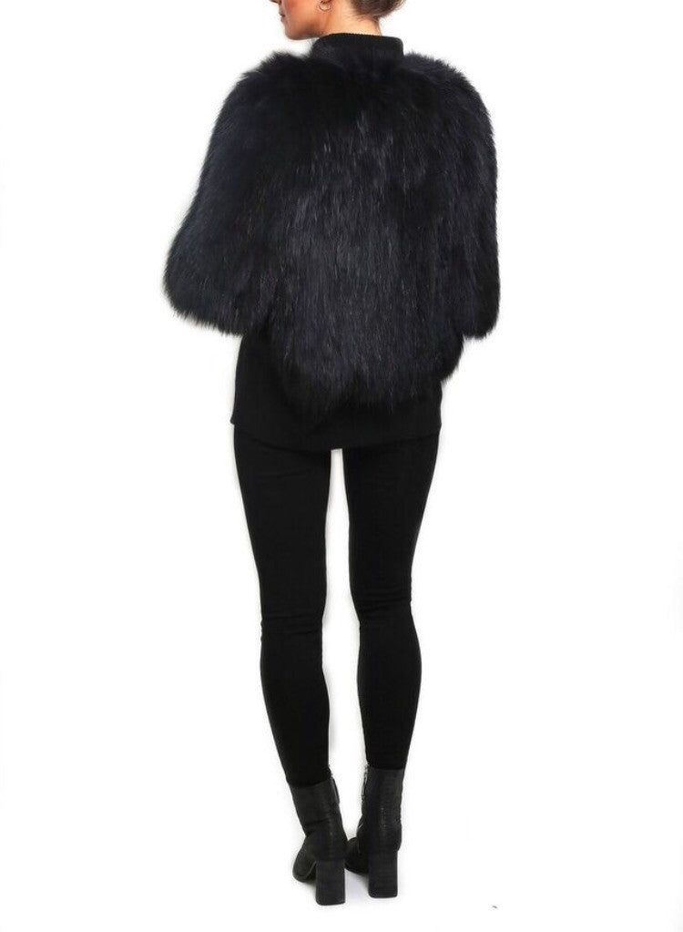 Jessimara Black Knitted Fox Fur Jacket