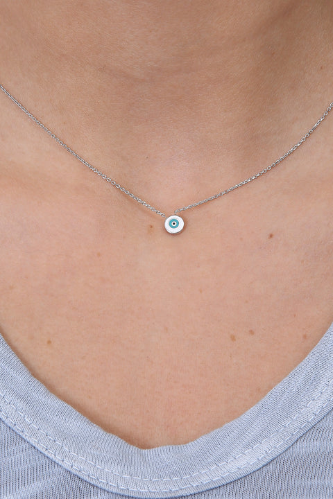 Jessimara Sterling Silver Circle Blue Enamel Necklace