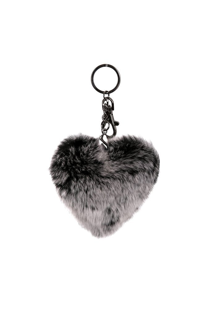 Black Snowtop Heart Keychain With Rabbit Fur