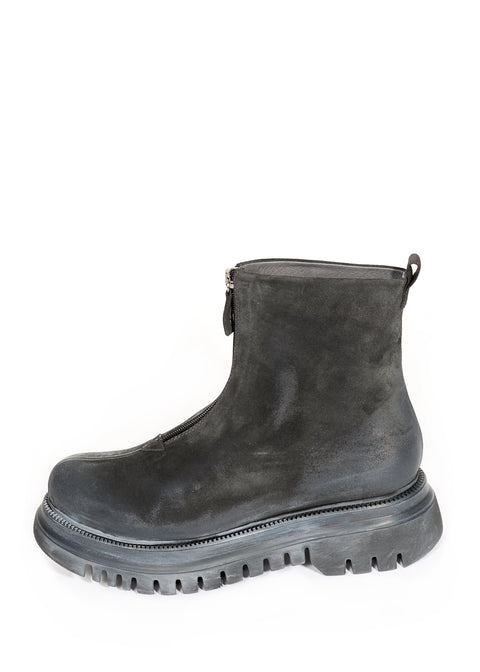 Black Suede Zip Up Boots