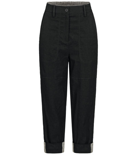 'Vi' Black Linen Trousers