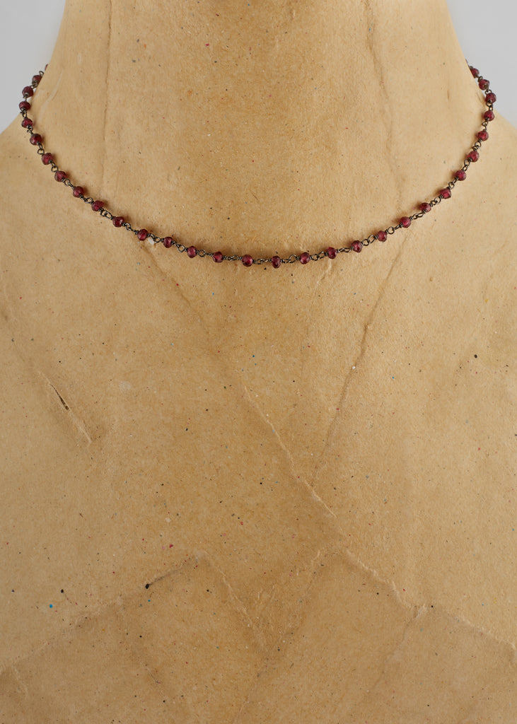 Red Garnet Rosary Stone Necklace | Jessimara London