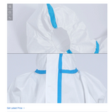 PPE White Protective Suit Blue Tape Sealed Seams