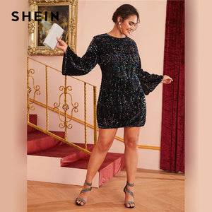 Fitted Bell Sleeve Sequin Party Dress