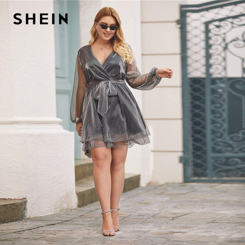 Grey Surplice V-Neck Wrap Belted Metallic Organza Dress