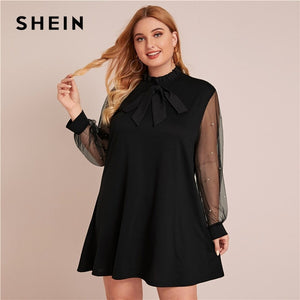 Frill Trim Mesh Panel Tunic Dress