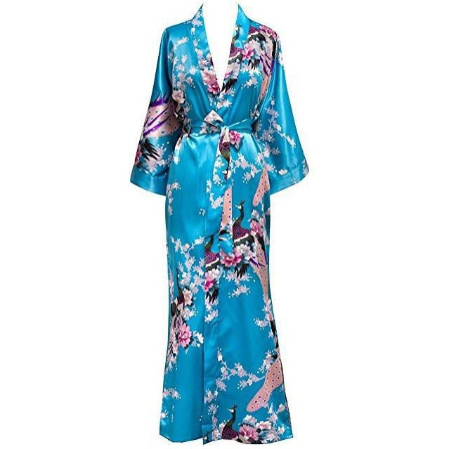Plus Size XXXL Chinese Women Long Robe Print Flower Peacock Kimono Bathrobe Gown Bride Bridesmaid Wedding Robes Sexy Sleepwear
