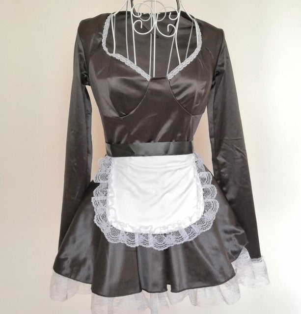 Faux Leather Maid Costume