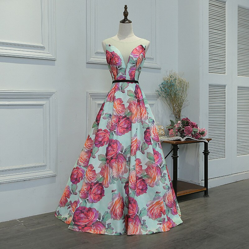 Chiffon Floral Evening Gown