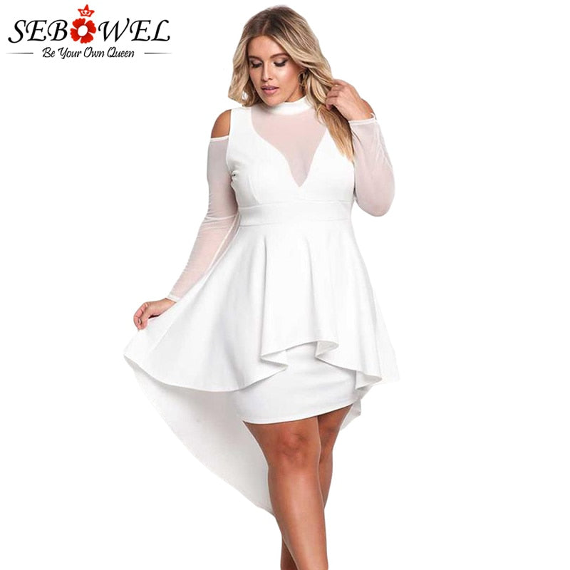 Mesh Bodycon  Flare Sleeve Party Dress