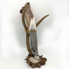 "Load image into Gallery viewer, Elk Antler Knife w/Turqouise and Silver Inlay, Engraved Blade ,6.25"" Blade"