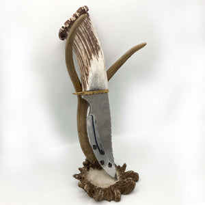 "Elk Antler Knife w/Turqouise and Silver Inlay, Engraved Blade ,6.25"" Blade"