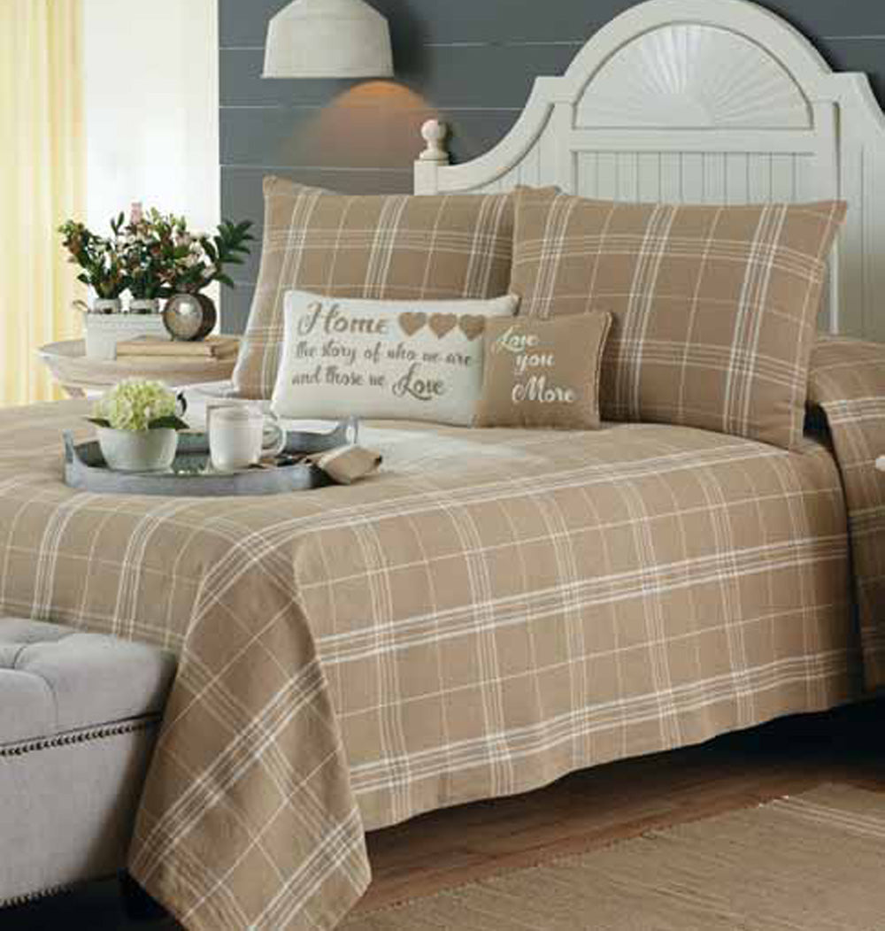 Bedspread Fieldstone Plaid Cream- Queen 94