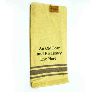 "Dish Towel-yellow,""An Old Bear and His honey Live Here"""