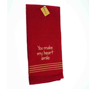 "Dish Towel-red, ""You Make My Heart Smile"""