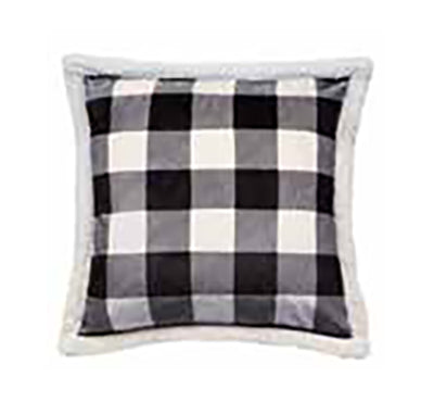"Lumberjack Black & White Plaid Pillow 18""x 18"""