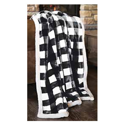 "Lumberjack Black & White Plaid Throw 54""x 68"""