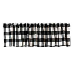 "Lumberjack Black & White Plaid Valance 80""x 18"""